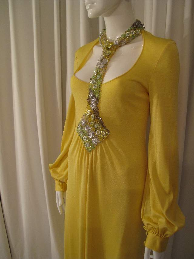 ... Vintage Loris Azzaro Canary yellow silk jersey gown 1970 s ... 408b92ab5